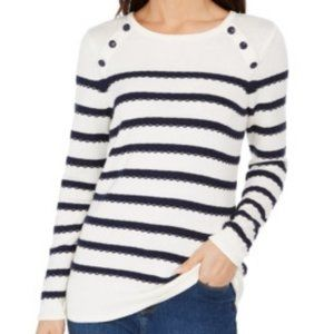 Charter Club Button Shoulder Striped Sweater